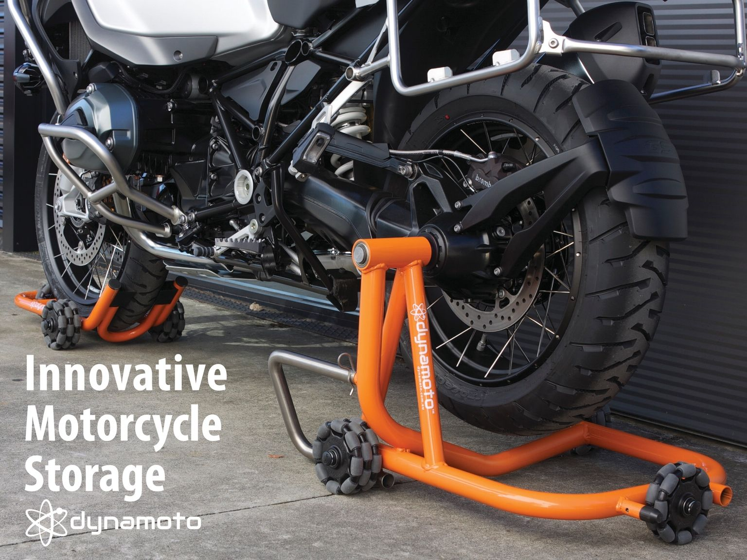 Simple, robust, and versatile devices for motorcycle riders to park, move, store and retrieve their bikes.