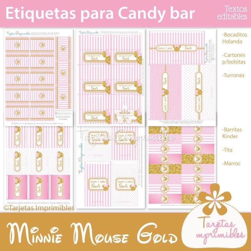 Etiquetas De Golosinas Personalizadas Para Imprimir Minnie Mouse Minnie Candy Bar De Minnie