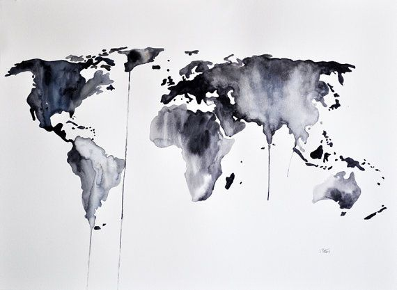 Original Abstract World Map Watercolor Painting Large Painting In