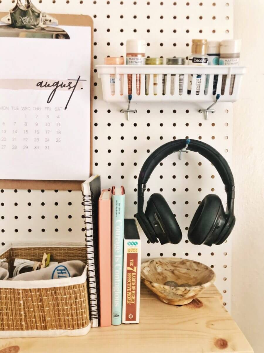 23 Creative Diy Pegboard Ideas To Organize Your Messiest Areas With Style Bedroom Desk Organization Desk Organization Diy Dorm Room Desk