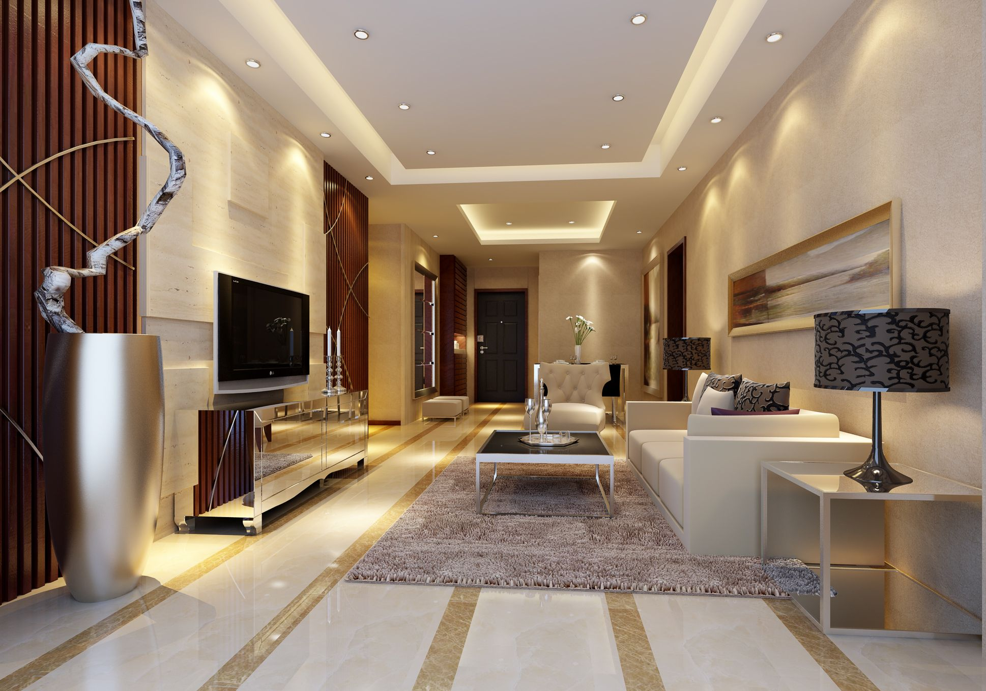 Marble Flooring Ideas For Living Room With Pop Ceiling And Flat Screen TV