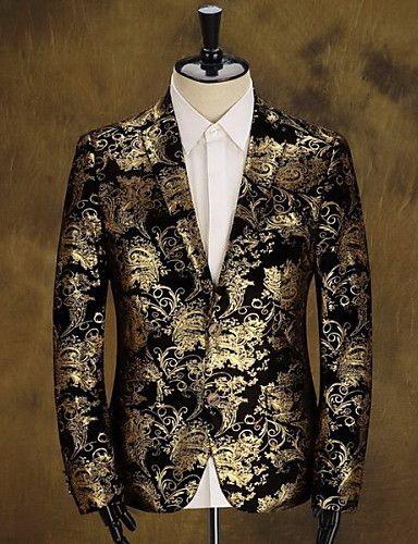 Hombre Vintage Diario Discoteca Primavera Otoño Regular Blazer Algodón  Poliéster Estampado 0c8fe57ee56