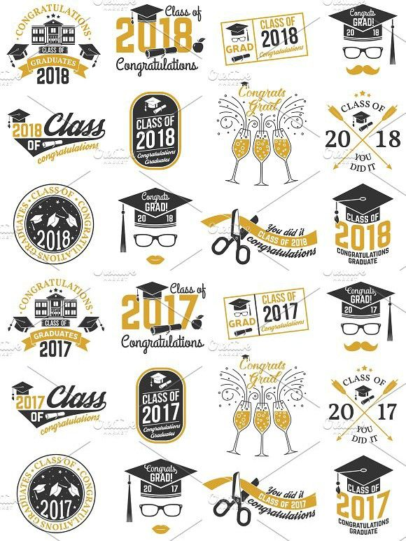 Vector Class of 2017 and 2018 badges