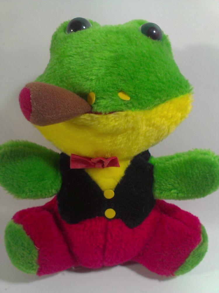 vintage cigar smoking green frog plush stuffed animal red