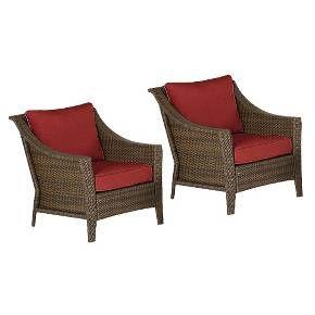Rolston 2 Piece Wicker Patio Club Chair Set Red Threshold