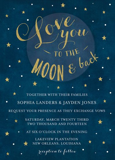 Wedding Invitations Love You To The Moon And Back By Chasity Smith