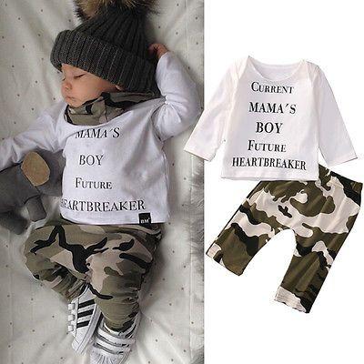 Newborn Baby Boy Hoodie Set Long Sleeve Sweatsuit Tops Camo Pants Toddler Kids Winter Outfits