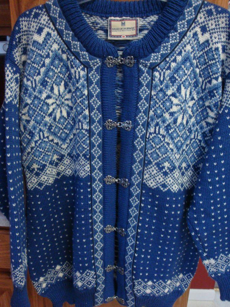 DALE OF NORWAY Womans Sweater MEDIUM M Wool Cardigan Norwegian ...
