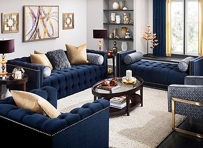 Diana Transitional Living Room Collection Design Tips Ideas Raymour And Flanigan Fur Blue Couch Living Room Blue Sofas Living Room Blue Living Room Decor