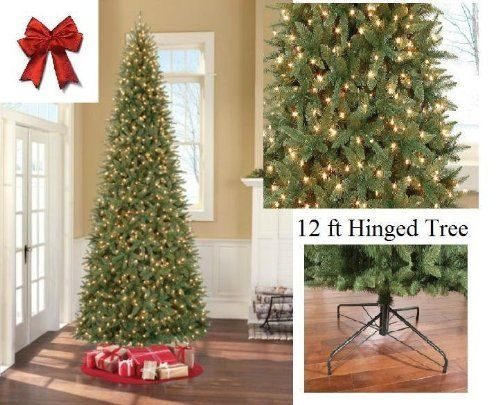 12 Ft Tall Artificial Slim Christmas Tree W 1100 Lights Stunning By Artificial Christmas Tree Slim Christmas Tree Christmas Tree Decorations Christmas Tree