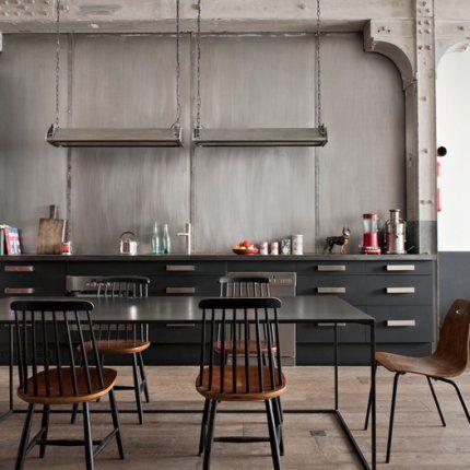 Un appartement de caractère au style industriel Cuisines - Meuble Rideau Cuisine Leroy Merlin