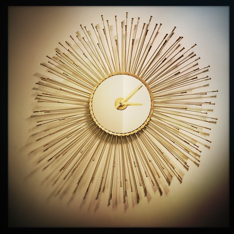 Sunburst Wall Clock, Gift For Cyclist, Mid Century Modern Wall Clock ...