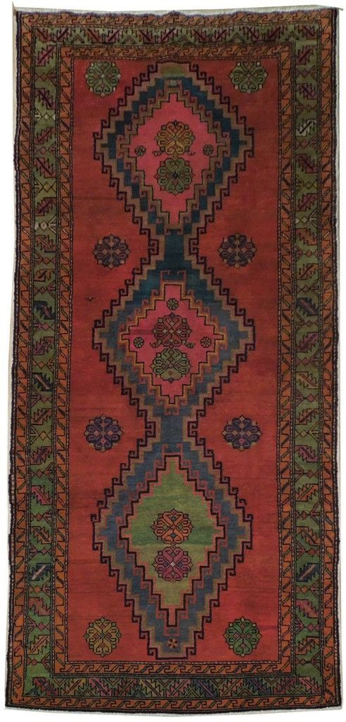 TRADITIONAL Gorgeous 4x9 Handmade Kazak hand-spun wool Semi-Antique Rug