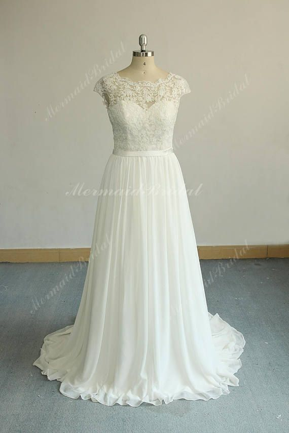 Romantic Ivory Aline Vintage Chiffon Lace Wedding Dress, Boho ...
