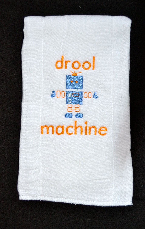 Custom Embroidered Drool Machine Robot Baby Burp Cloth