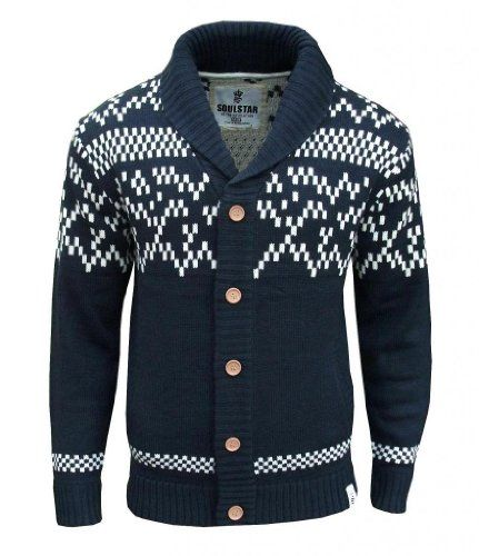 Soul Star Quebec Men's Aztec Nordic Fair Isle Knitted Cardigan ...