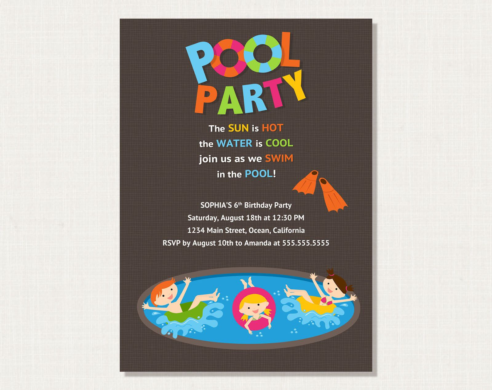 Party Invitation,Picturesque Pool Party Invitation Wording Plus ...