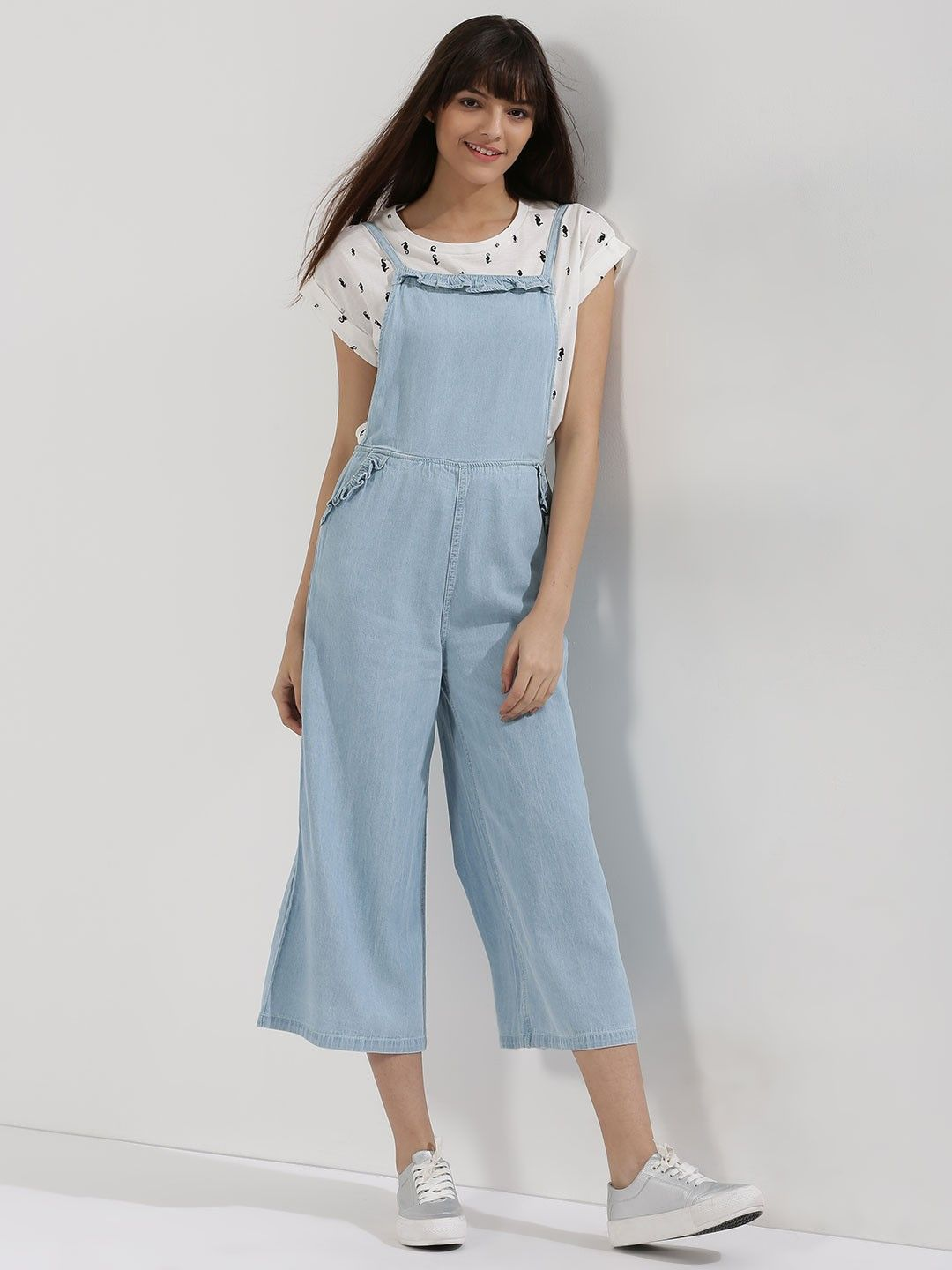 a2430feb03c4 Buy Cropped Wide Leg Dungarees For Women - Women s Blue Dungarees Online in  India