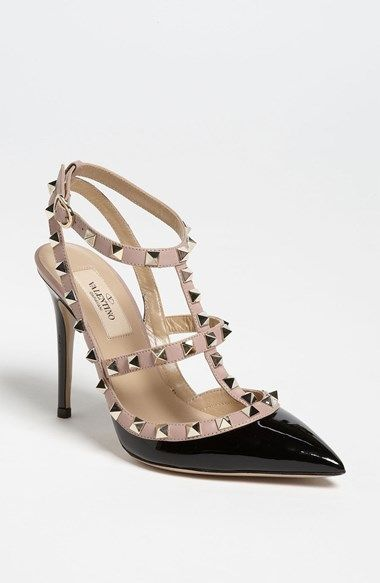 97a9c8bceb7 Free shipping and returns on Valentino 'Rockstud' T-Strap Pump at  Nordstrom.com. Pyramid studs boldly decorate a pointed-toe pump shaped from  high-gloss ...