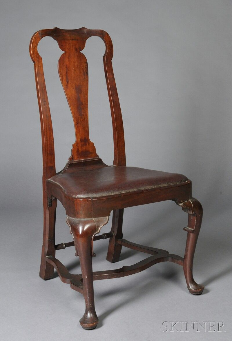 Queen Anne Carved Walnut Side Chair Sale Number 2618b Lot  # Muebles Peter Behrens