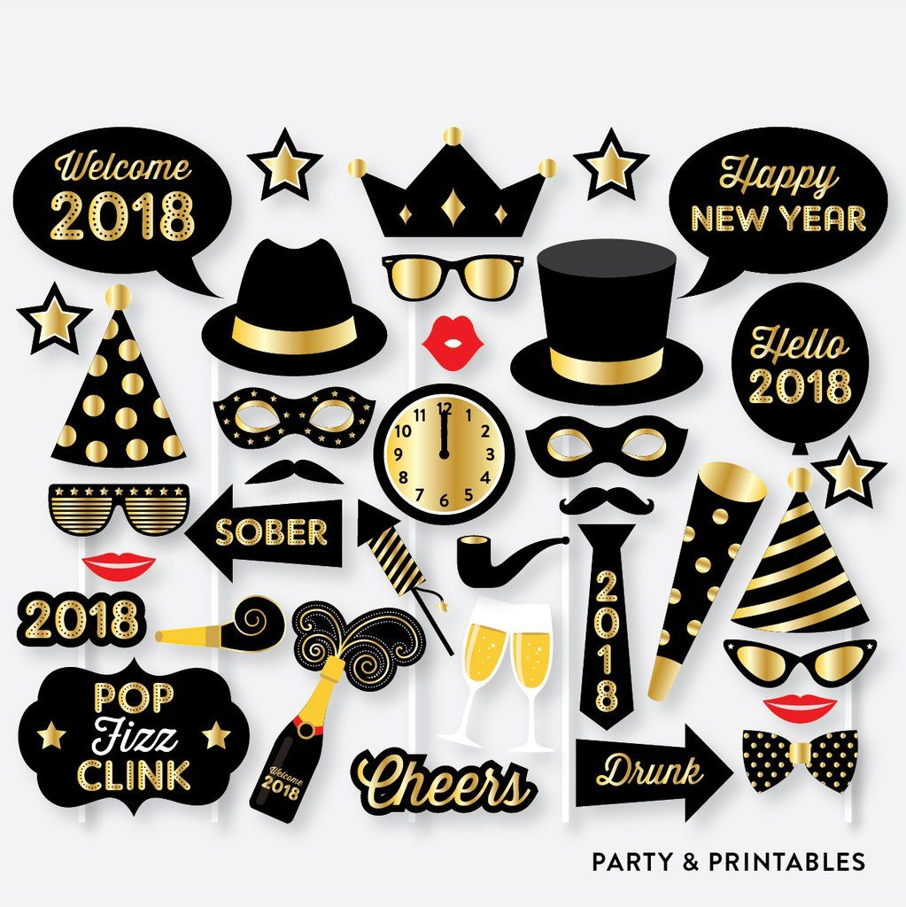 New Year Photo Booth Props Photo Booth Sign Instant Download Pbp 07 Birthday Photo Booths Photo Booth Props Birthday Photos