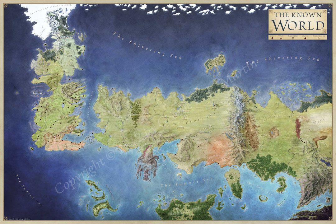 World Of Ice And Fire Official Map Carte De Game Of Thrones
