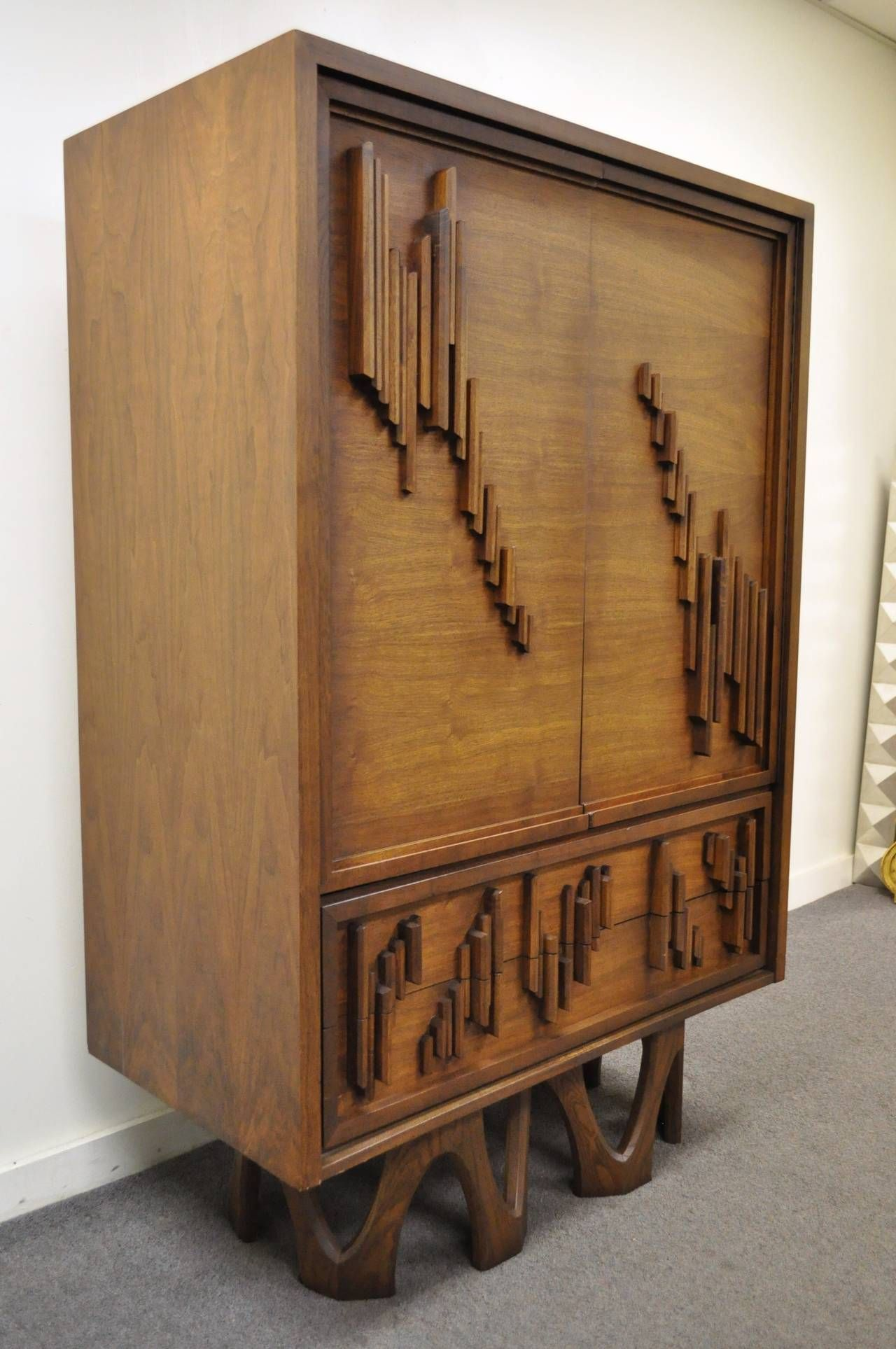 Charming Decor: Mid Century Modern Brutalist Teak And Walnut Modern Armoire For Home  Furniture Ideas