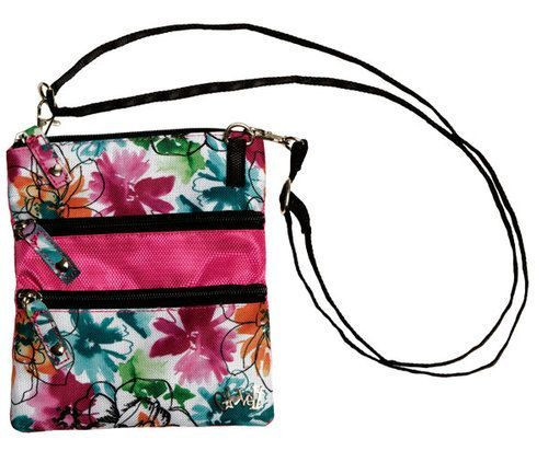"Glove It Garden Party 3 Zip Golf Accessory Bag. Functional carry-all bag clips on a golf bag then converts to a cross-body bag. 24"""" detachable strap included. Dimensions are 5.6"""" x 7""""."