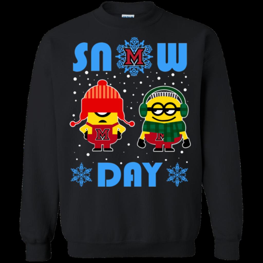Miami ( oh ) Redhawks Minion Ugly Christmas Sweaters Snow Day Snowflake Sweatshirts