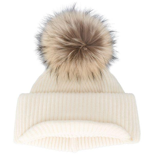 Blue ribbed cashmere hat with fur pom pom inverni 9N6ubFd