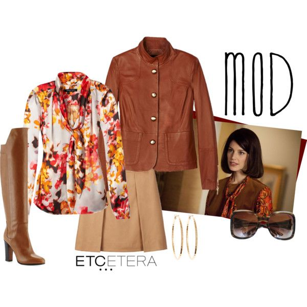 SCOTCH cognac leather jacket; BRIAR floral silk blouse, ESTATE doe/camel skirt by biseletcetera on Polyvore featuring мода, Vince, Brooks Brothers, Gucci, Etcetera, Fall, leatherjacket and etcetera