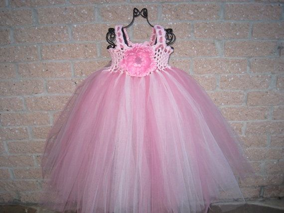 Tutu Dress FLUFF OF PINK  HandCrocheted Cotton Bodice by ElsaLAbbe