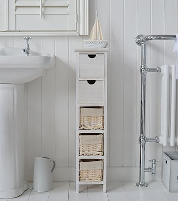 The White Lighthouse Bathroom Furniture. Slim 20 Cm Wide Cape Cod White  Bathroom Narrow Storage Furnitue With 5 Drawers And Baskets.