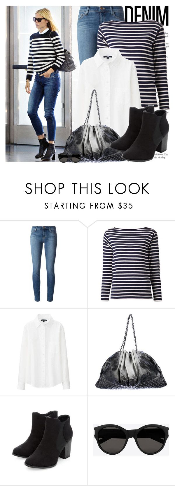 """Street Style: Gwyneth Paltrow"" by enola-pycroft ❤ liked on Polyvore featuring J Brand, Yves Saint Laurent, Uniqlo and Chanel"