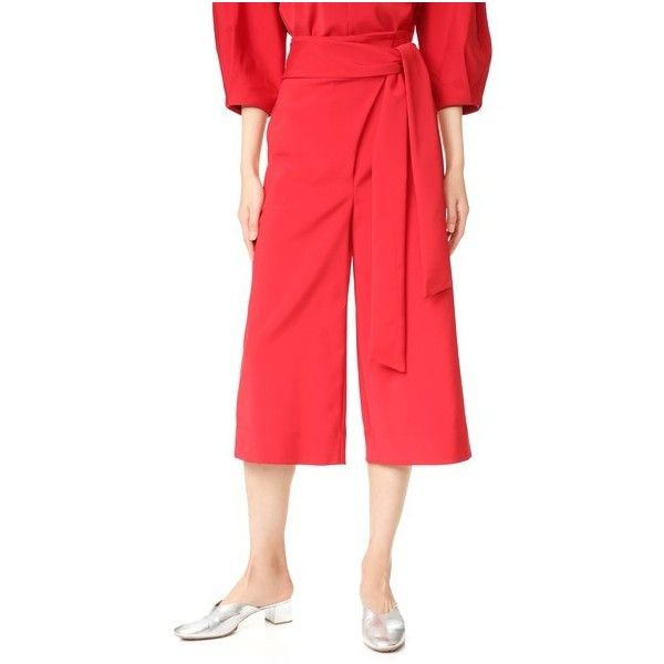 Tibi Pleated Culottes (1,740 ILS) ❤ liked on Polyvore featuring pants, capris, redstone, pleated pants, lightweight pants, stretch trousers, red pants and zip pants
