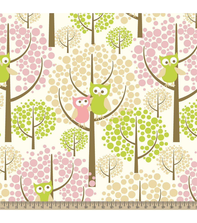 Antipill fleece fabric forest owls inspiration crafting