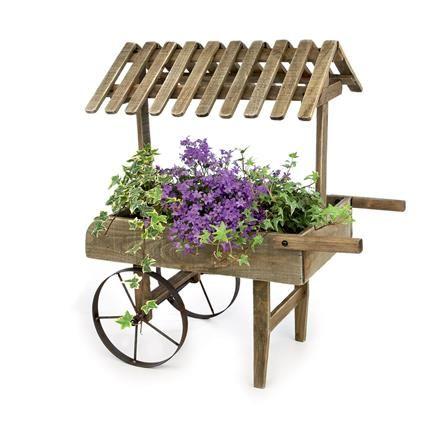 Premier Wooden Garden Cart Planter | ACHICA