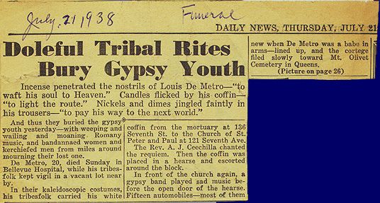 Newspaper Report Of  Burial Of Gypsy Boy In Queens Ny Biddy