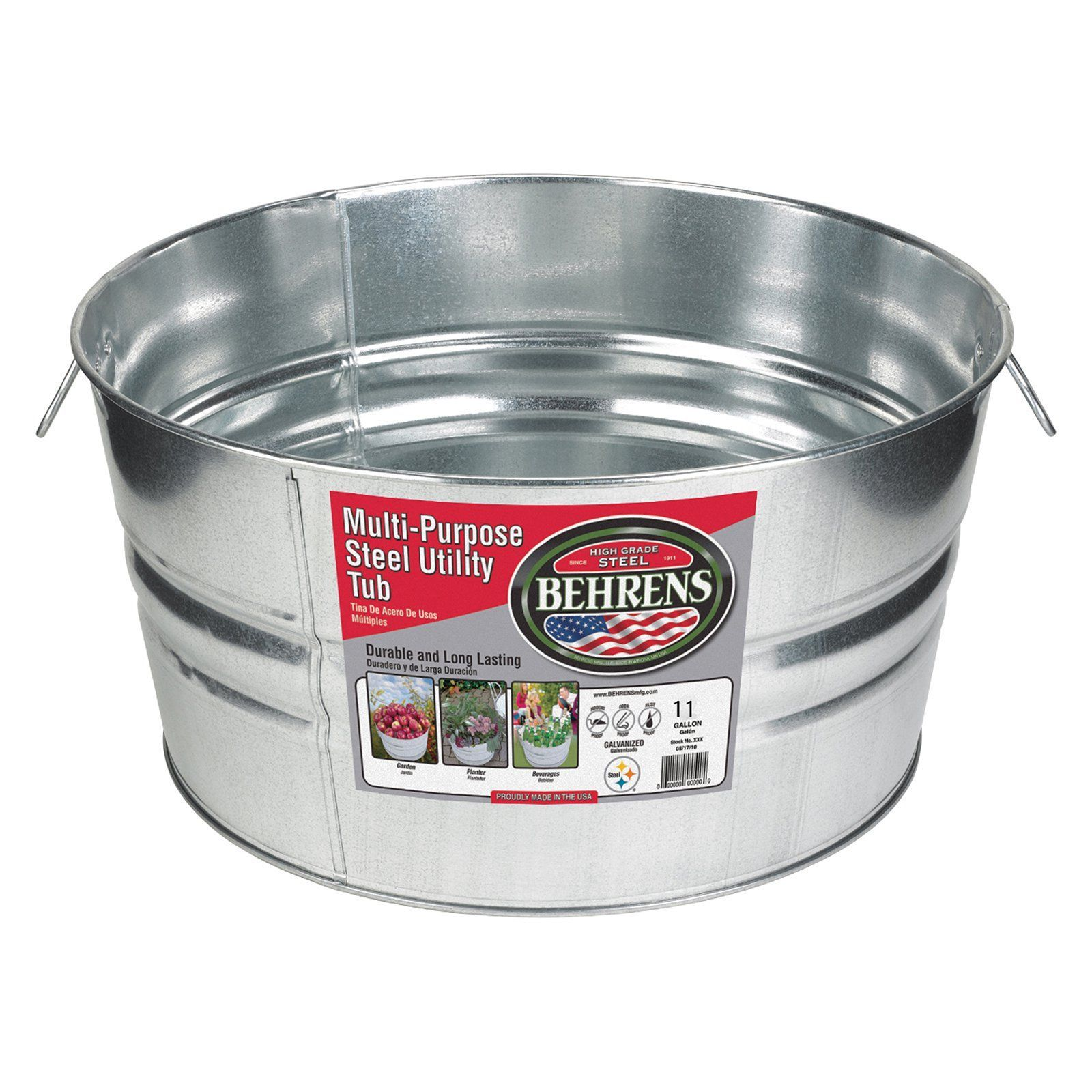 Behrens Galvanized Steel Round Beverage Tub B54 1gsx Steel Tub Galvanized Wash Tub