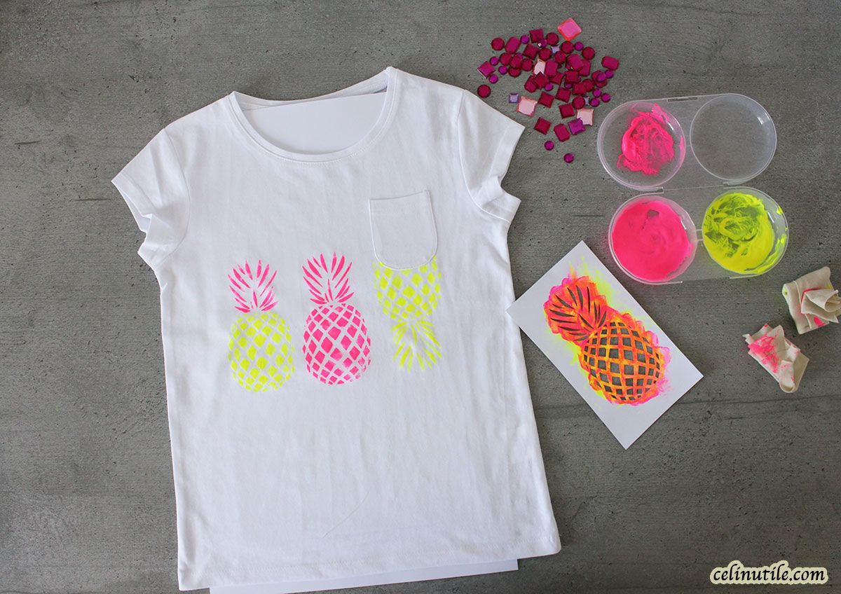 DIY tee shirt tropical #pochoir