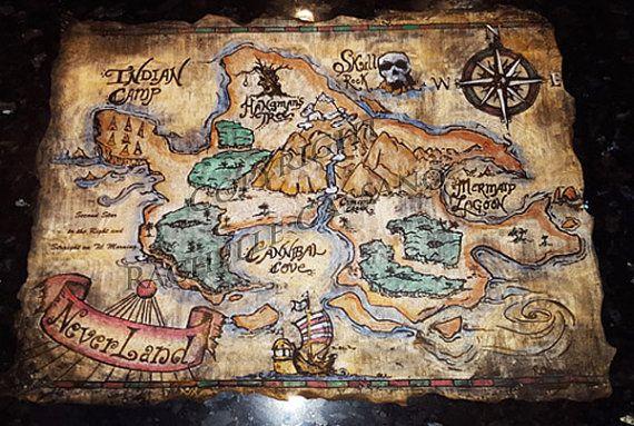 Hand Painted Neverland Map The Kiddo Piratas Mapas Peter Pan