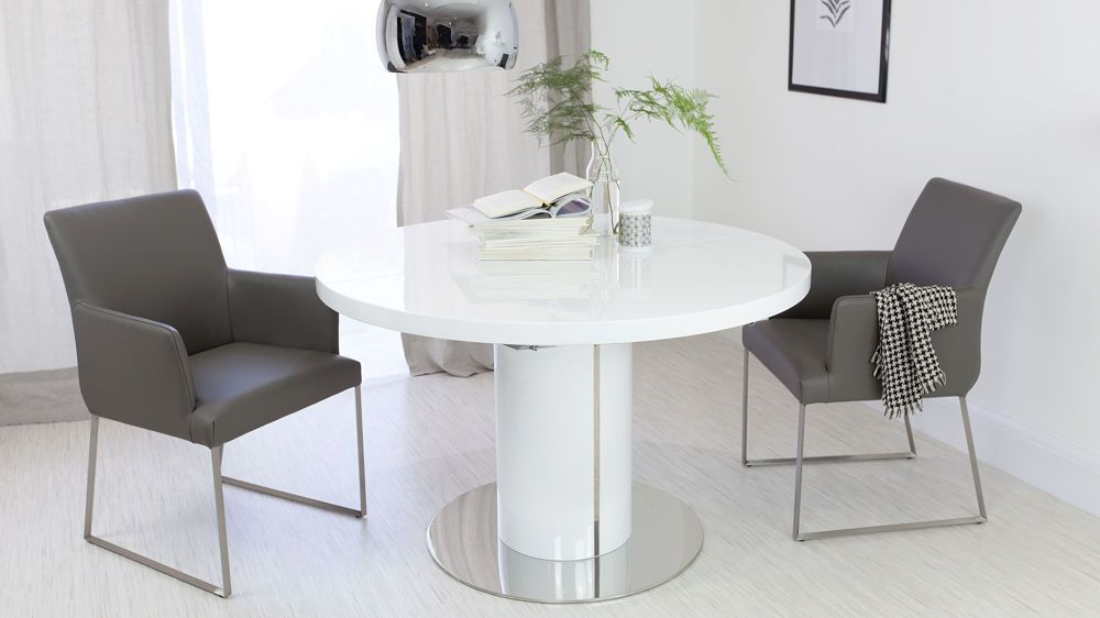 Contemporary Round Dining Room Tables Delectable Curva Round White Gloss Extending Dining Table  Modern Armchairs Review