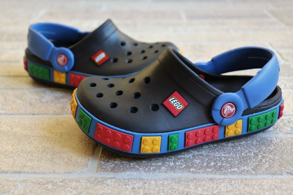 571b88e5456d49 Crocs LEGO Bricks 3D Black Blue Sandals Boys Youth 1 J1 Crocband Summer  Shoes  Crocs  Sandals