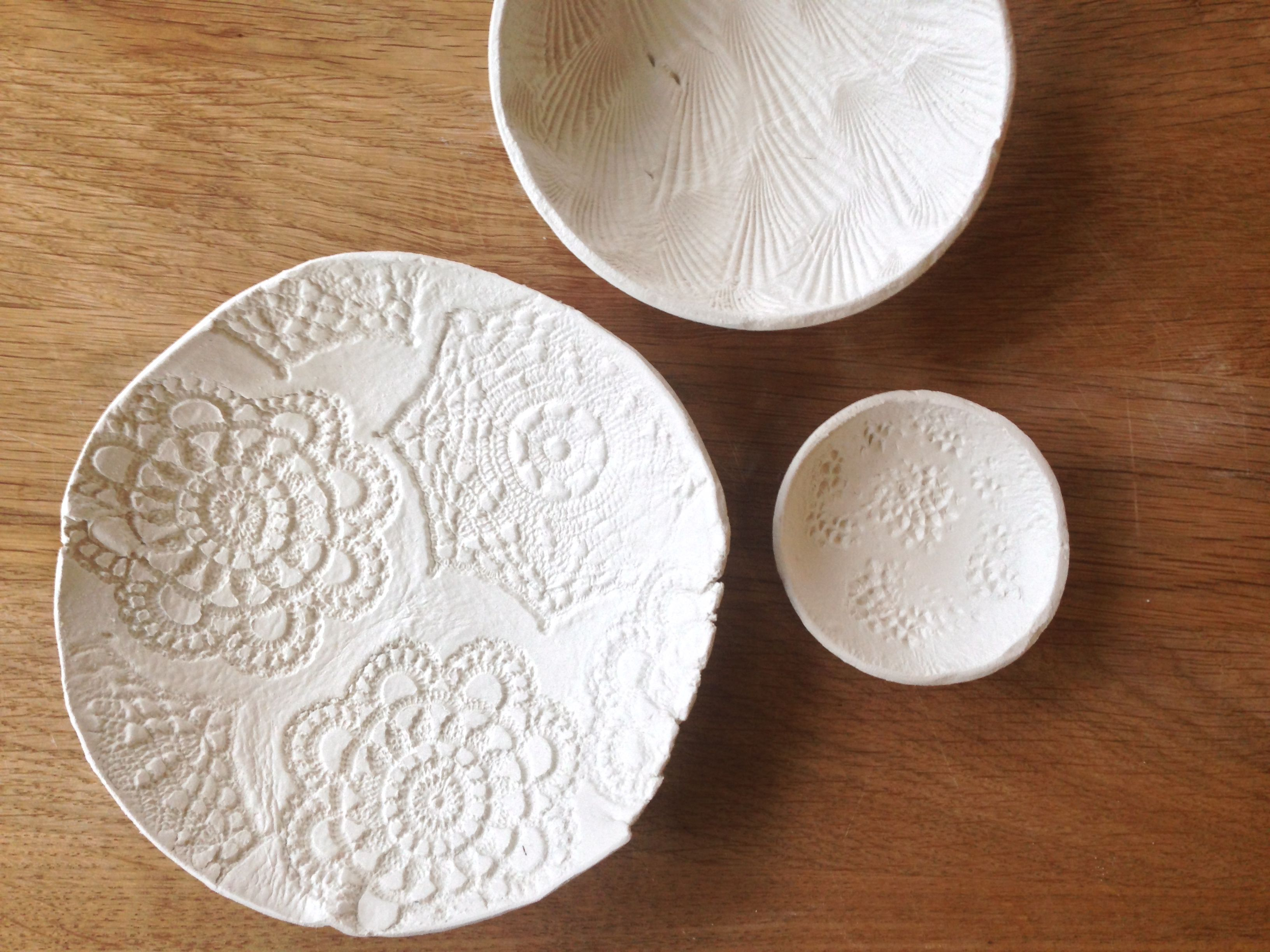Air Dry Clay Bowls Made By Embossing Crochet Coasters Shells And Pine Cones Check Out Tutorial On