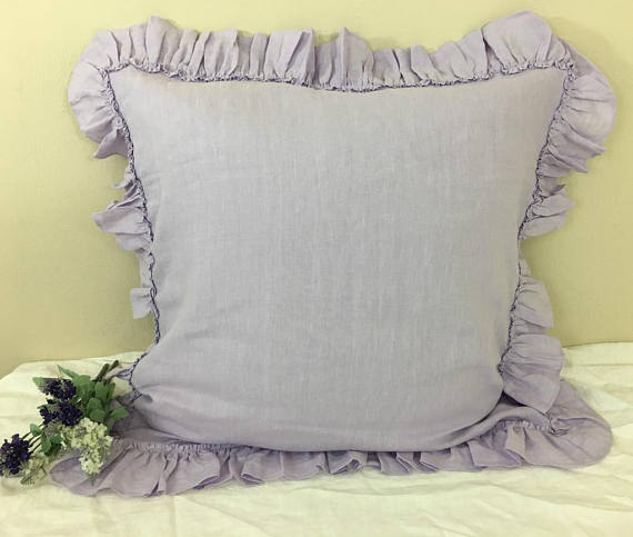 Lavender Linen Euro Sham Cover With Country Ruffle Hem