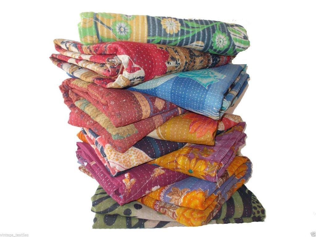 Fair Trade Kantha Quilt Gudri Rali Wholesale Lot Of 3 Pc Kantha Quilt Kanthaquilt Kanthathrow Tropica Vintage Kantha Quilts Vintage Kantha Handmade Blanket