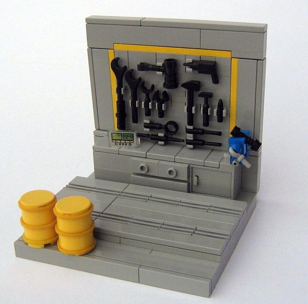 Custom Tool Wall: Lego Sculptures, Lego, Lego Furniture