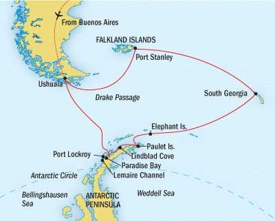 Antarctica, South Georgia, and the Falklands Route Map ...