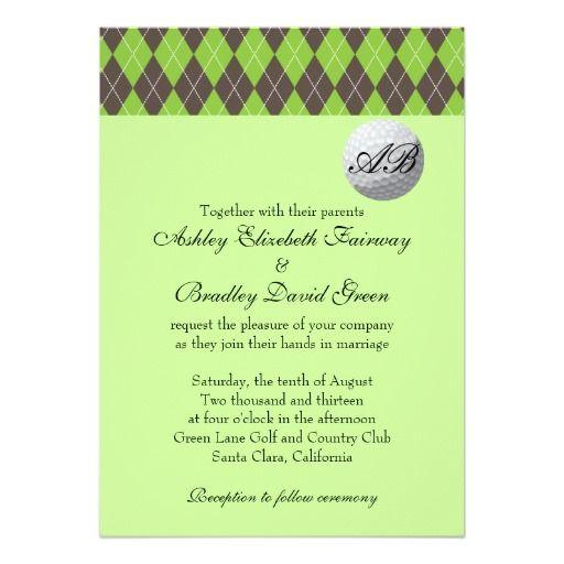 Argyle Golfball Golfing Green Monogram Wedding Invitation