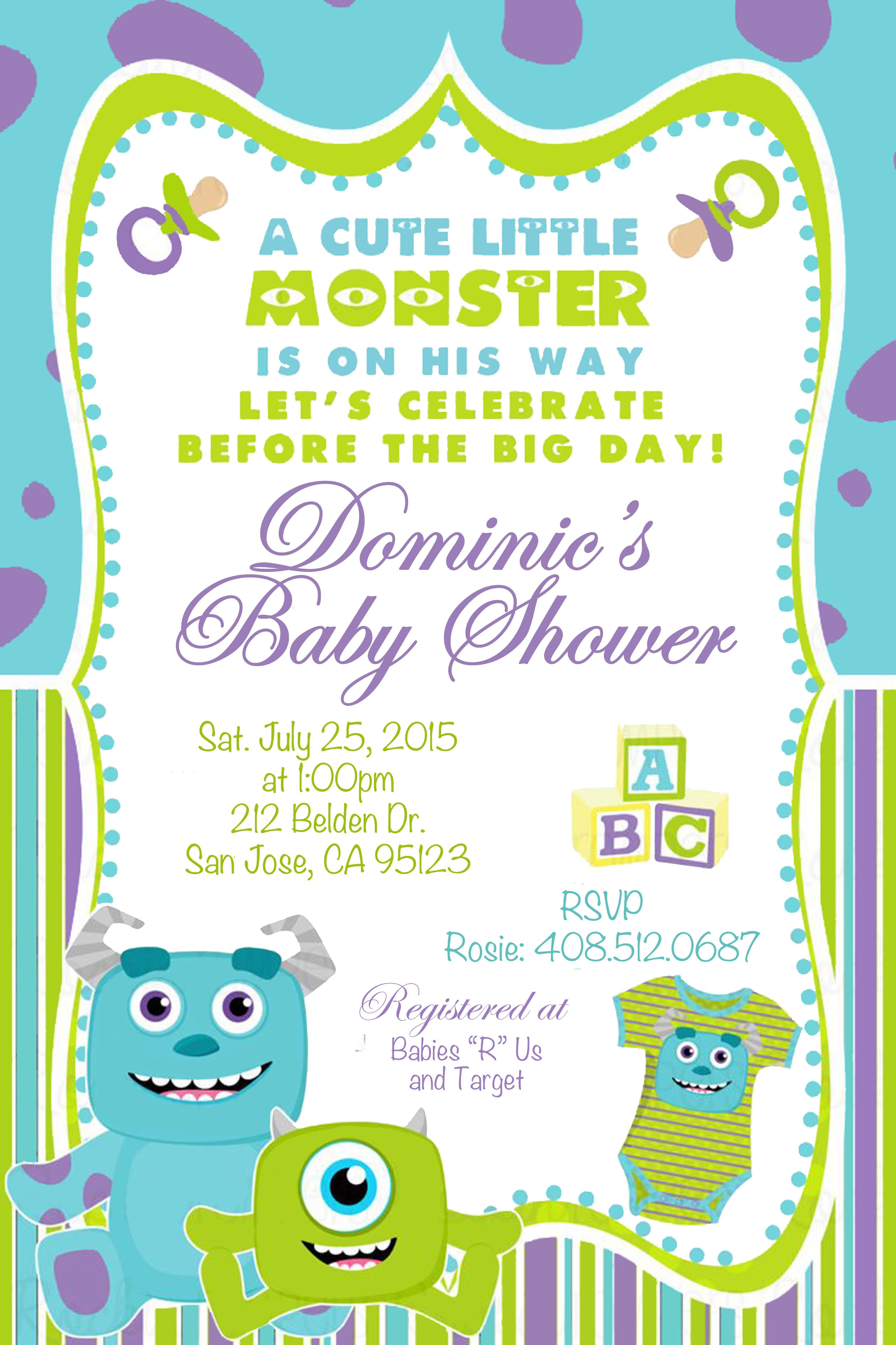 Monsters Inc. Baby Shower Invitation For Custom Orders: j9autra ...